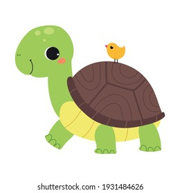Happy Green Turtle Walking with Bird Sitting on Its Carapace Vector Illustration