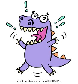 Happy greeting purple dragon. Vector illustration. Cute cartoon character.