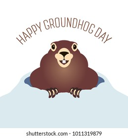 Happy groundhog day card. Holiday winter and spring banner rodent february woodchuck cute shadow, cartoon vector illustration, hole, fun. Character animal mammal.