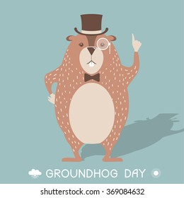 Happy Groundhog day card illustration with marmot in cylinder