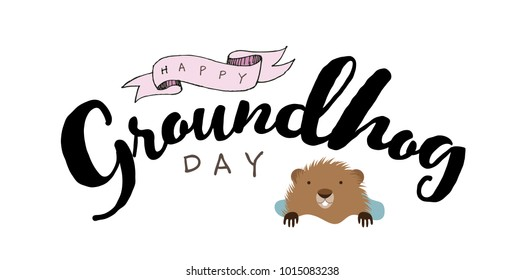 Happy Groundhog Day cartoon with text. EPS10 vector illustration.