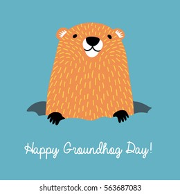 Happy Groundhog Day. Cute groundhog popping up from his burrow.