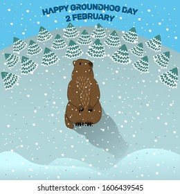 Happy Groundhog day. A cute Groundhog with a shadow stands on the snow.