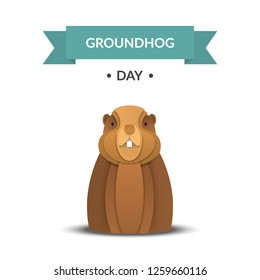 Happy Groundhog Day design card with marmot, sky, clouds,text. Paper cut style. Vector illustration.