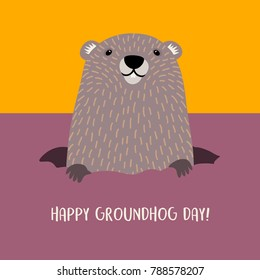 Happy Groundhog Day design with cute groundhog emerging from his burrow.