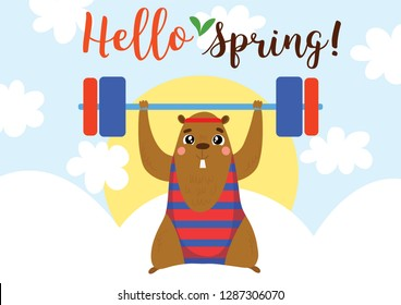 Happy Groundhog Day. Funny card with cute cartoon marmot. Good for sport motivation posters,fitness club, magazines and websites. - Vector