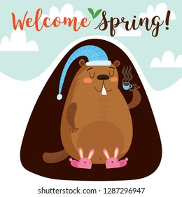 Happy Groundhog Day. Greeting card with cute cartoon marmot. Hand-drawn illustration-Vector
