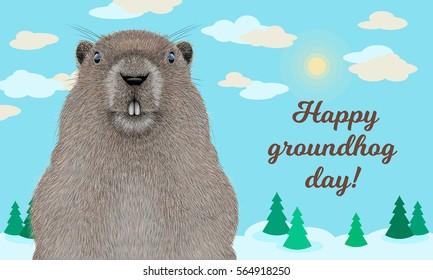 Happy Groundhog Day greeting card.