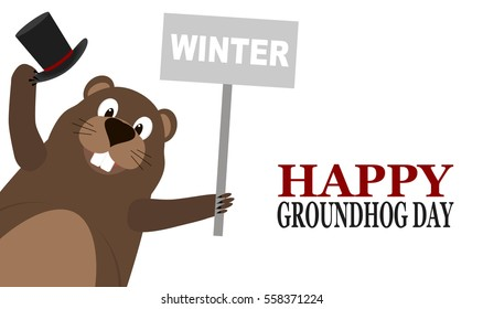 Happy Groundhog Day. Groundhog holding cylinder hat and a sign with the text winter