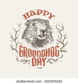 Happy Groundhog Day Illustration. Vector. eps10.