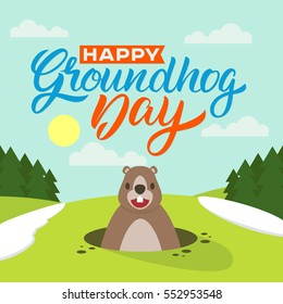 Happy Groundhog Day. Lettering greeting. Vector illustration.