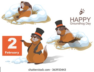 Happy Groundhog Day. Marmot holding February 2. Illustration