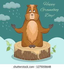 Happy groundhog day. Marmot meditation. Marmot sitting on tree stump. Vector Illustration.