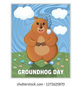 Happy Groundhog Day - spring holiday. February 2nd. Greeting card, grass, flowers, blue groundhog non-careless. Marmot in a nightcap and slippers. Vector graphics.