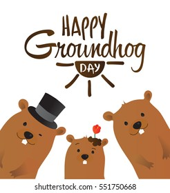 Happy Groundhog Day Typographic Vector Design with Cute Marmot Family Characters - Advertising Poster or Flyer Template