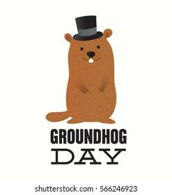 Happy Groundhog Day Typographic Vector Design with Cute Marmot Character - Advertising Poster or Flyer Template