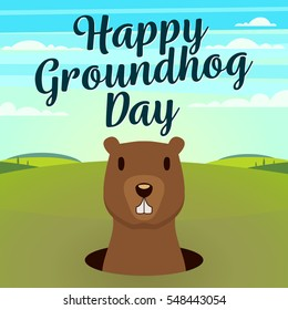 Happy Groundhog Day typography and design with cute groundhog character