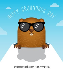 Happy Groundhog Day with Groundhog Vector