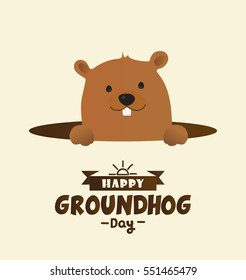 Happy Groundhog Day Vector Design with Cute Marmot Character - Advertising Poster or Flyer Template