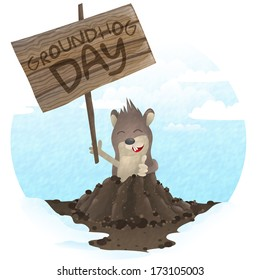 Happy Groundhog Day.  Vector Illustration. Eps 10.