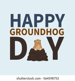 Happy groundhog day.logo, icon, cute happy Marmot emerged from burrows, perfect for greeting cards, invitations, posters, prints on T-shirt, wish text, vector illustration isolated on a background