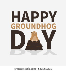 Happy groundhog day.logo,icon,cute frightened Marmot emerged from burrows, perfect for greeting cards,invitations,posters,prints on T-shirt, wish text, vector illustration,isolated on white background
