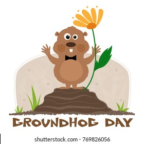 """Happy groundhog is standing on a mound next to a flower and a """"groundhog day"""" title under it. Eps10"""