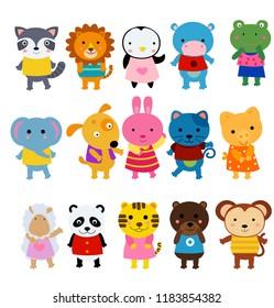 Happy group of animals