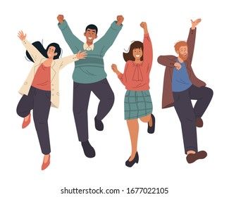 Happy group of business people jumping celebrating success. Cheerful young people cartoon characters