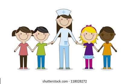 happy group children with doctor, team. vector illustration