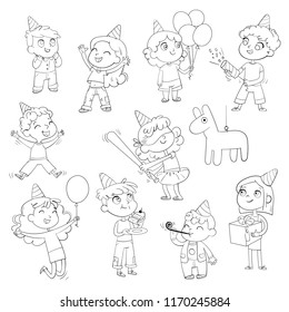 Happy group of children having fun at birthday party. Little girl is going to broke the pinata. Funny cartoon character. Set. Coloring book. Vector illustration. Isolated on white background
