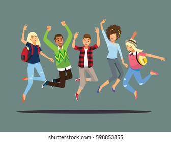 Happy group of friend jumping.Vector illustration cartoon character.