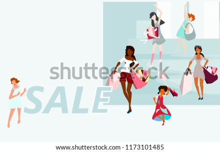 478127ba01 A happy group of girls shopping returns with purchases with big bags. Vector  illustration.