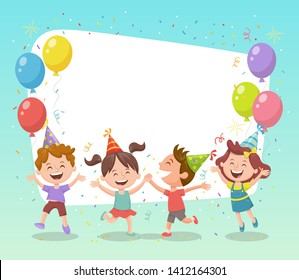 Feliz grupo de niños celebrando una fiesta con globos, sombreros de fiesta y confetti. Plantilla para hacer tarjetas de cumpleaños, invitaciones, marcos fotográficos y fondos.