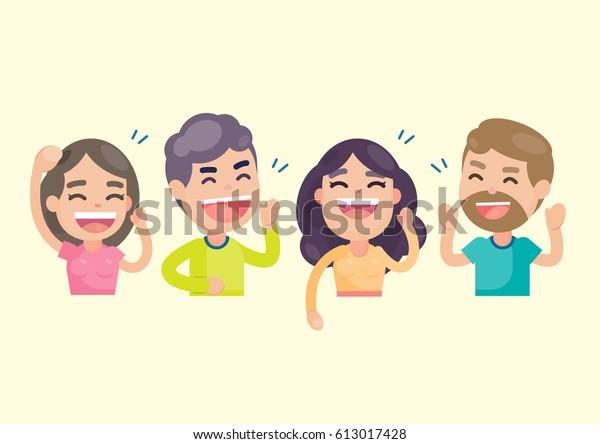 Счастливая группа людей весело и улыбаясь смеясь вместе, векторный характер иллюстрации.
