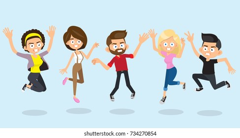 Happy group of people jumping on a blue background. The concept of friendship, healthy lifestyle, success. Vector illustration in a flat style
