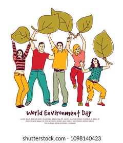 Happy group people world environment day leaf isolate