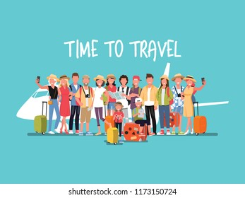 Happy group of teen and Family traveler .Vector illustration cartoon character.
