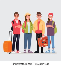 Happy group of teen traveler