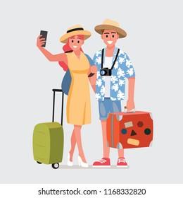 Happy group of teen traveler.Vector illustration cartoon character.