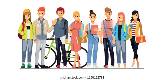 Happy group of teen University student .Vector illustration cartoon character.
