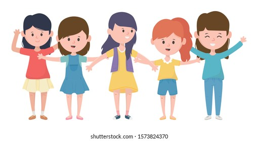 happy group women cartoon characters design vector illustration