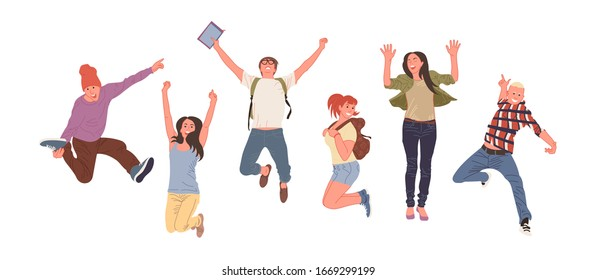 Happy group of young people are jumping and smiling. Creative vector illustration on white background. Young students with backpacks.