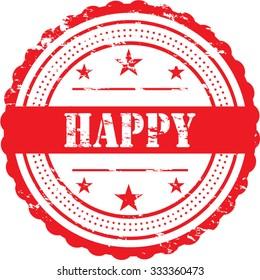 Happy / Grunge Badge
