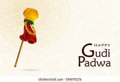 Happy Gudi Padwa celebration, India template, greeting card. Hand drawn elements, vector illustration. Gold pot, stick, leaves, red fabric with patterns, flowers. Samvatsaradi, Ugadi, Yugadi holiday