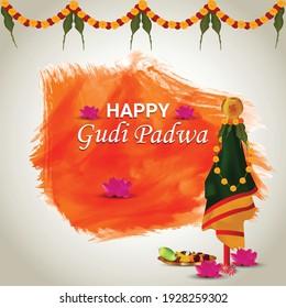 Happy gudi padwa holiday festival celebration greeting card