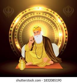 Happy Gurpurab, Guru nanak jayanti  and Guru prakash  celebration  the birth of the first Sikh Guru.