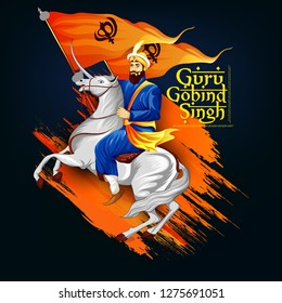 Happy Guru Gobind Singh Jayanti festival for Sikh celebration