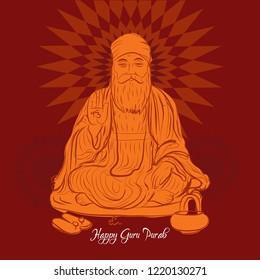 Happy Guru Nanak Dev jayanti.  Guru Purab creative banner