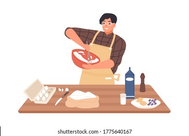 Happy guy in apron mixing ingredients preparing dough in bowl vector flat illustration. Smiling man cooking dessert at kitchen table isolated on white. Preparation homemade pastry or baking